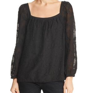 REBECCA TAYLOR Kyla Embroidered Silk Blend Top